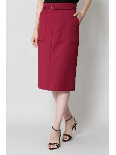 [ウォッシャブル]ベルテッドポケットタイトスカート