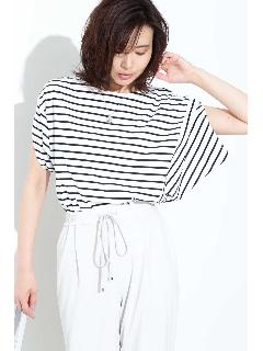[ウォッシャブル]ボーダーボリュームTシャツ