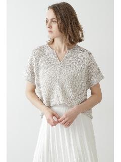 ◆麻ラメミックスガーター 半袖プルオーバー