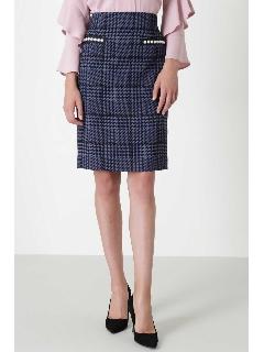 ◆グレンチェックパール付きミニスカート