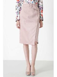 ◆カラーフェイクスエードベルト付きラップスカート