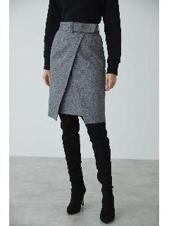 ◆ソフトツイードラップレイヤードスカート