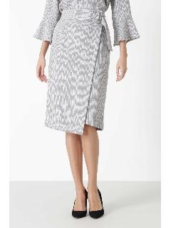 ◆ヘリンボーンプリントアシメヘムラップスカート
