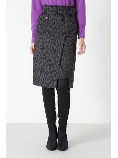 レオパードプリントトレンチスカート
