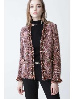 ◆モールトリミングカラーツイードジャケット