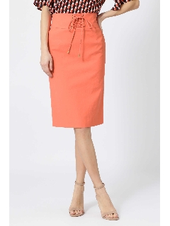 [ウォッシャブル]ハトメレースアップタイトスカート