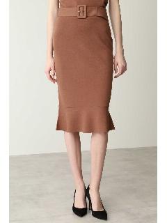 ペプラムニットベルト付きスカート