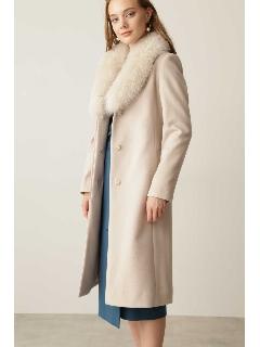 ◆カシミヤ混フォックスファー襟コート