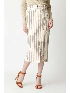 ◆ロープベルト付麻混ストライプスカート
