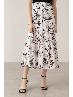 ◆カットジャカードフラワープリントスカート