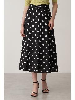 ベルト付きドットプリントフレアスカート