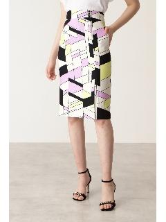 ◆カラーブロックプリント飾りボタン付きスカート