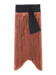 ハイツイストゼログサテンアシメトリーヘムプリーツスカート