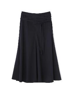 ストレッチブロードリボン付きフレアースカート