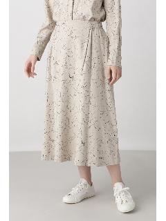 ◆ラインドローイングフラワープリントスカート