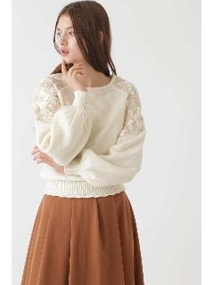 ◆ジョセフィー袖刺繍レースニット