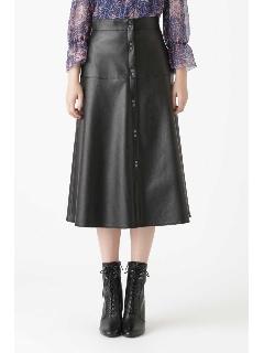 ◆フロウフレアフェイクレザースカート