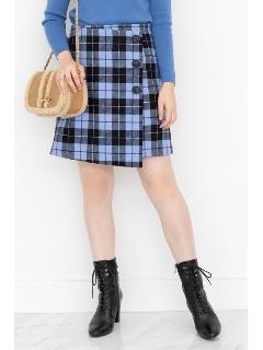 ◆ルーチェックラップ台形ミニスカート