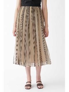 《Endy ROBE》ストライプ刺繍チュールフレアスカート