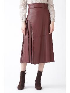 [美人百花掲載]◆ブロックフェイクレザースカート