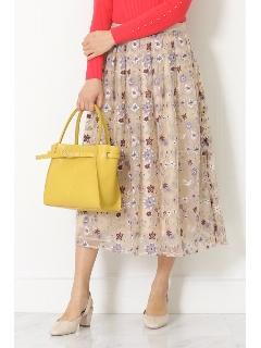 ◆カラーフラワーエンブロイダリーチュールスカート