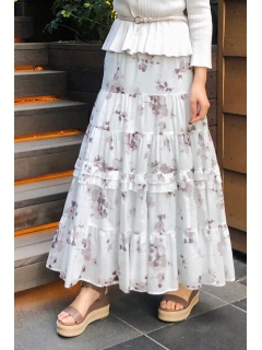 ◆《Endy ROBE》オリビアティアードプリントスカート
