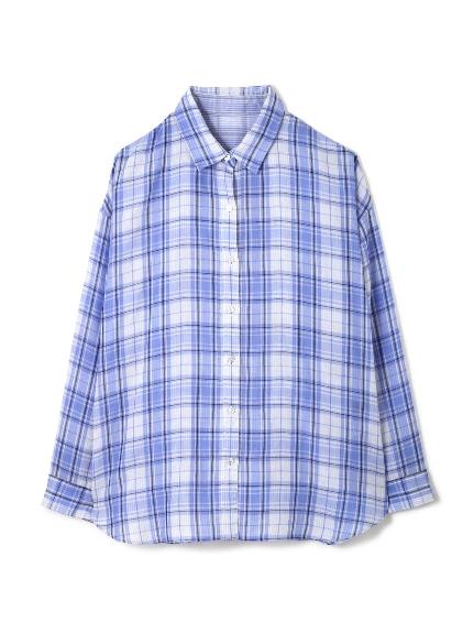 70%OFF 22 OCTOBRE (ヴァンドゥーオクトーブル) ◆大きいサイズ◆フォルムリバーシブルシャツ ブルー(110)