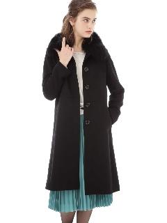 ◆ファー付ステンカラーカシミヤコート