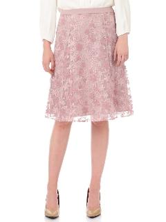 ◆チュールフラワー刺繍フレアースカート