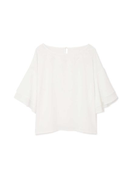 30%OFF Aylesbury (アリスバーリー) ◆大きいサイズ◆ボリュームフレアスリーブ刺繍ブラウス オフホワイト1(031)