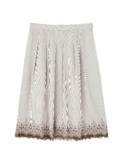 70%OFF Aylesbury (アリスバーリー) ◆大きいサイズ◆トルコ刺繍ストライプスカート ベージュ(040)