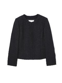 ◆大きいサイズ◆クルーネックファンシーツィードジャケット