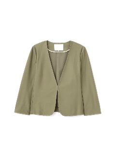 ◆大きいサイズ◆ノーカラーデニムジャージージャケット