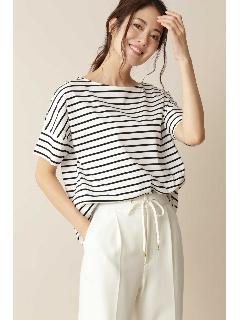 ◆[Weekend Line][洗える]クルーネックTシャツ(天竺ボーダー)