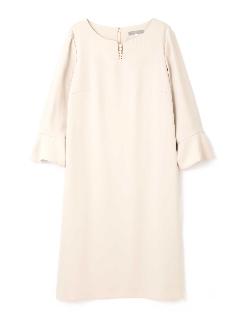 ◆大きいサイズ◆襟ぐりパールフレア切替袖Iラインワンピース《Purpose》