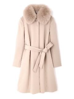 ◆大きいサイズ◆カシミヤ混フォックスファー襟ロングウールコート