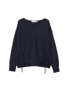 ◆大きいサイズ◆アンゴラ混裾シャーリングニットプルオーバー