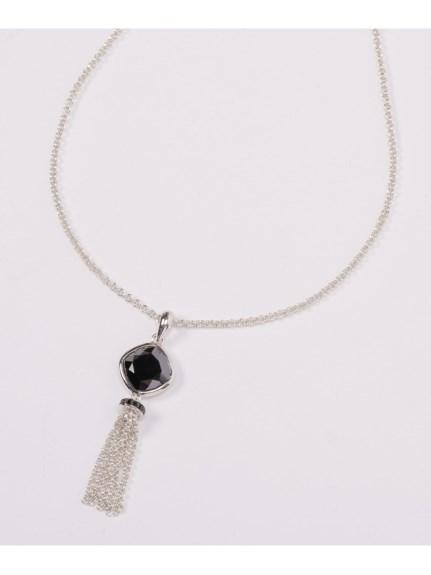 64%OFF AMOUR (アムール) ブラック キュービックジルコニウム&クリスタル スターリングシルバータッセル ネックレス(AMOUR認定書カード付) ブラックキュービックジルコニウム