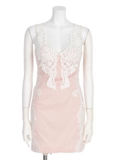 【Rione Duras】シースルーモチーフレースタイトワンピドレス