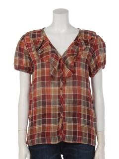 フロントフリルチェックシャツ