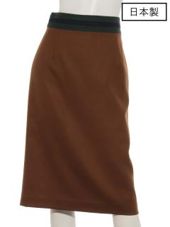 【日本製】ウエストライン切り替えタイトスカート