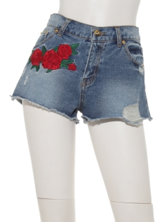 ・薔薇刺繍ショートパンツ