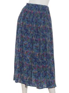 ボタニカルフラワープリントギャザースカート