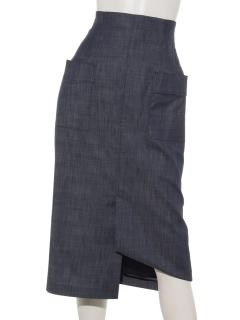 デニムライクハイウエストタイトスカート