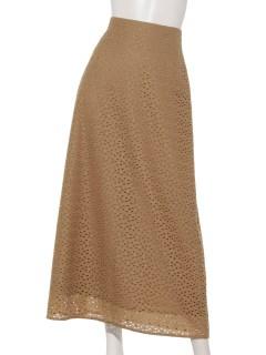 幾何花柄刺繍ロングスカート