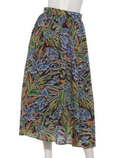 刷毛目ボタニカルプリントローンギャザースカート