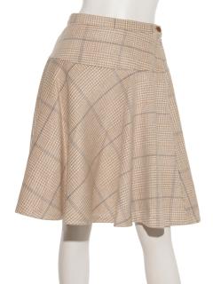 Fシャギーチェックフレアスカート