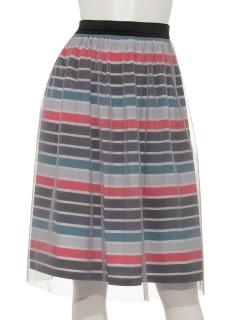 チュールボーダースカート