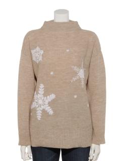 雪柄刺繍ニットプルオーバー