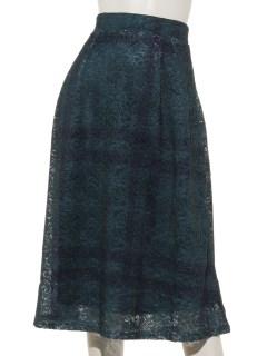 チェック柄プリントレース スカート